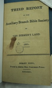Third Report of the Auxiliary Branch Bible Society of Van Diemen's Land 1821