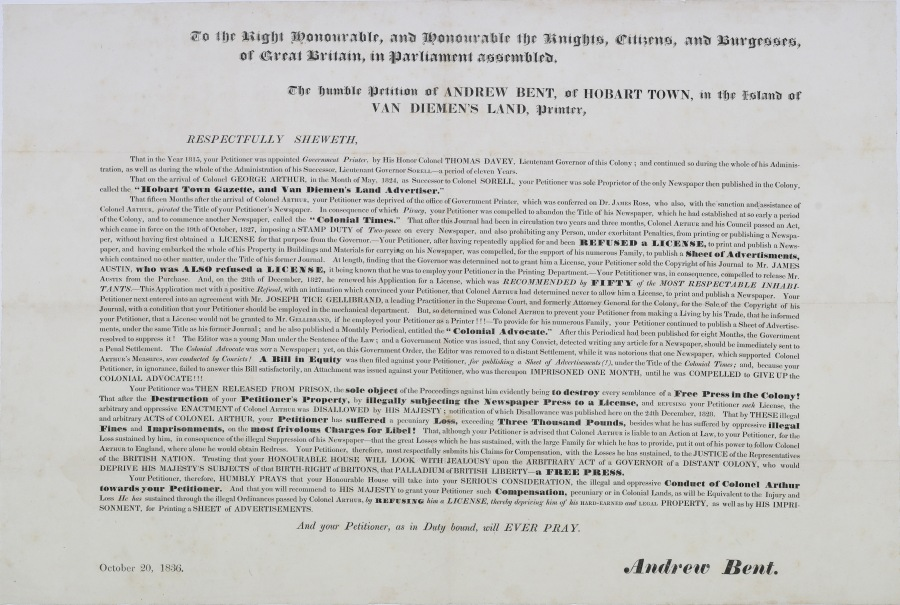 Petition to House of Commons 1836 (Wilson)