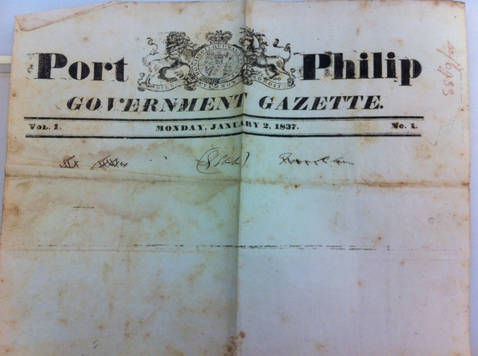 Port Philip govt gazette proof 1837