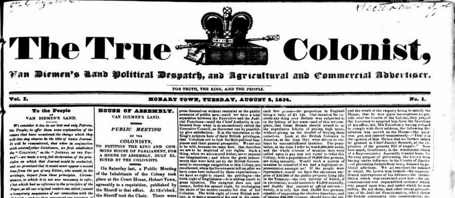 True Colonist 5 Aug 1834