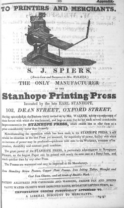 Spiers ad Robson 1833