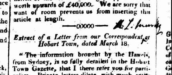 Tasmanian 23 Mar 1825 RLM