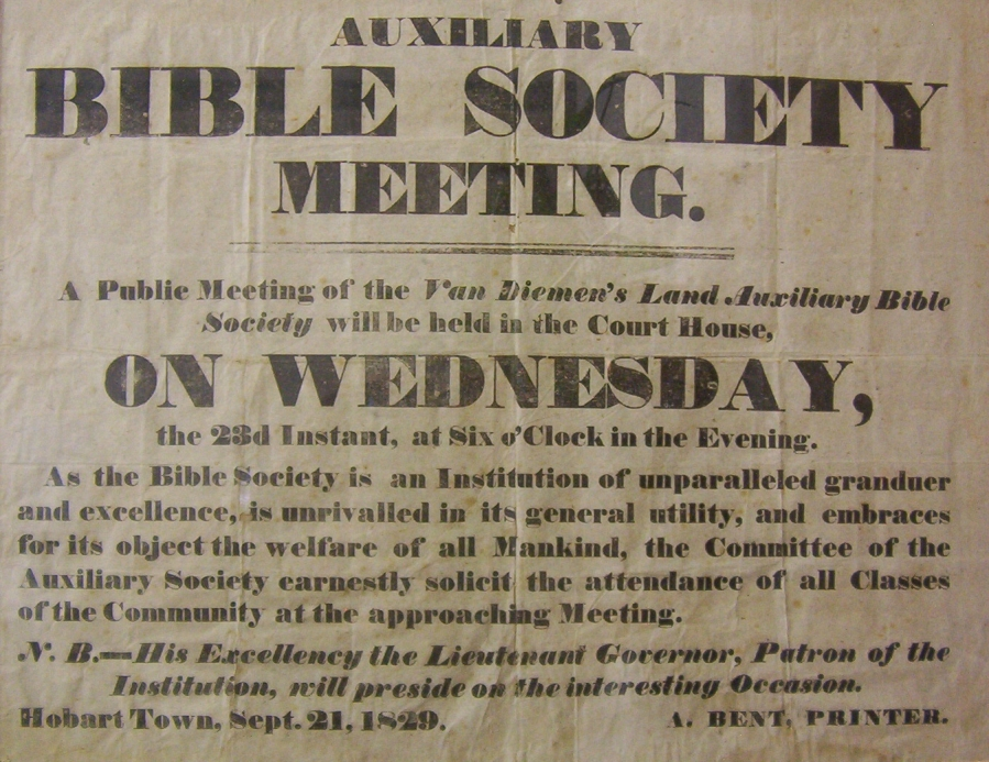 1829 Poster for Bible Society Meeting