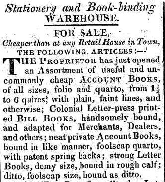 Stationery and bookbinding warehouse HTG 23 Apr 1824